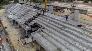 Construction du stade du Moule